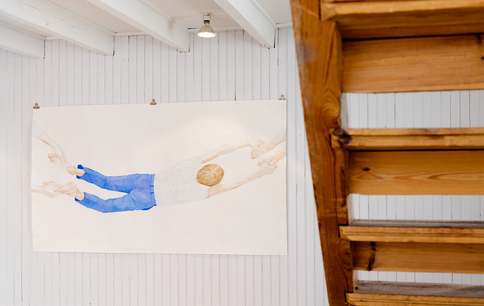 Installation view from 'Connections' at POM Gallery. (Image: 'Bridge'. Watercolor on paper 112,5 x 200 cm)